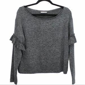 ZARA Charcoal Grey Thin Knit Top Ruffles S